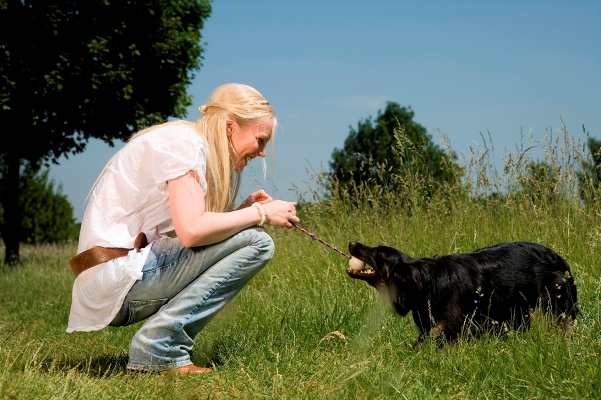 Young Woman Playing Outside With The Dog